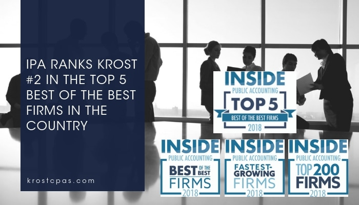 KROST Ranks #2 – 2018 INSIDE Public Accounting Top 5 Best of the Best Firms in the Country