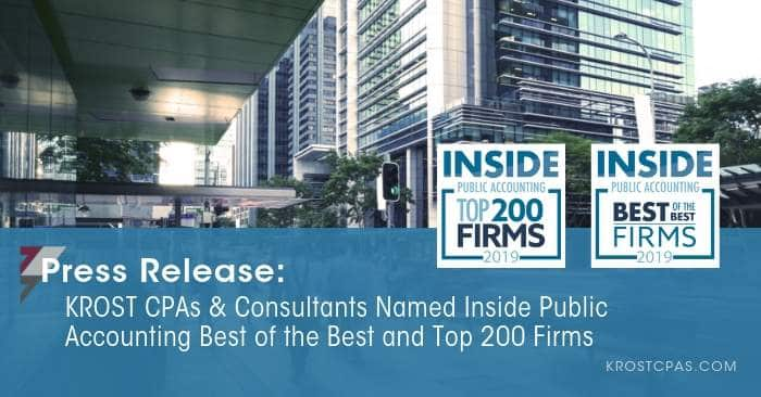 KROST CPAs & Consultants Named INSIDE Public Accounting Best of the Best and Top 200 Firm
