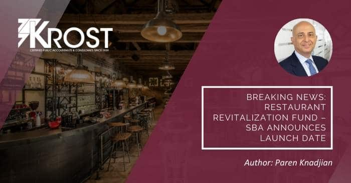 Breaking News: Restaurant Revitalization Fund – SBA Announces Launch Date