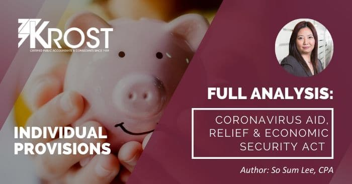 Individual Tax Provisions – Coronavirus Aid, Relief, and Economic Security Act (CARES Act)