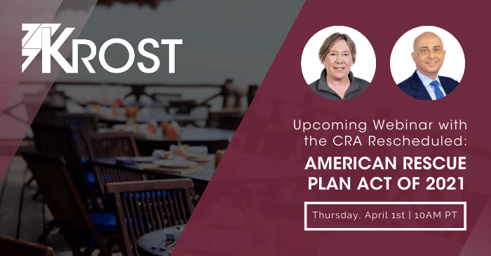 Register for our Upcoming Webinar with the CRA: American Rescue Plan Act of 2021