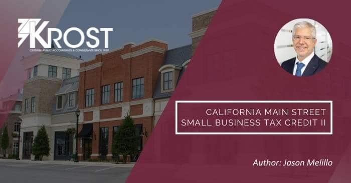 California Main Street Small Business Tax Credit II