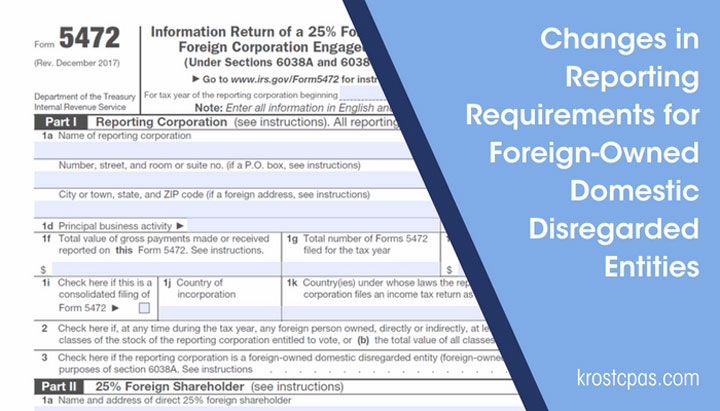 Changes In Reporting Requirements For Foreign Owned Domestic
