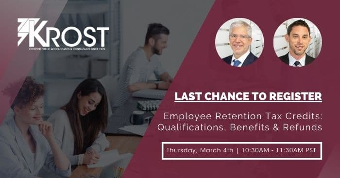 [Webinar] Employee Retention Tax Credits: Qualifications, Benefits & Refunds