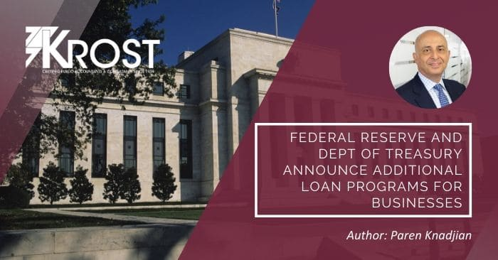 Federal Reserve and Dept of Treasury Announce Additional Loan Programs for Businesses