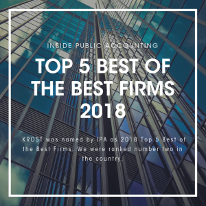 KROST Ranks #2 - 2018 INSIDE Public Accounting Top 5 Best of the Best Firms in the Country