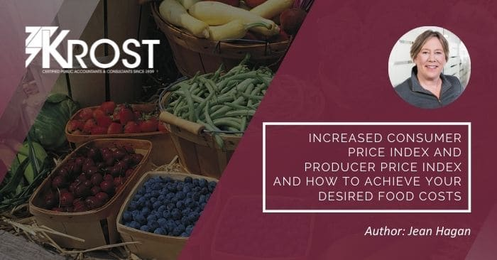 Increased Consumer Price Index and Producer Price Index and How to Achieve Your Desired Food Costs