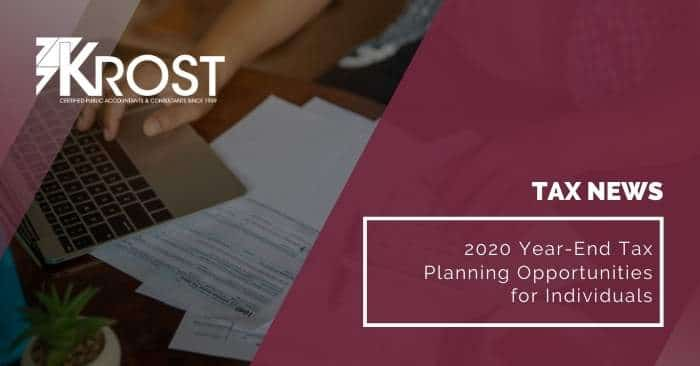 2020 Year-End Tax Planning Opportunities for Individuals
