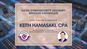 Keith AICPA Cybersecurity Advisory Services Certificate