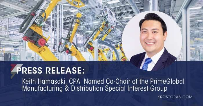 Keith Hamasaki, CPA, Named Co-Chair of the PrimeGlobal Manufacturing & Distribution Special Interest Group
