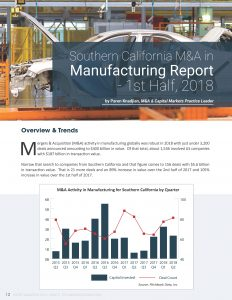 Southern California M&A in Manufacturing Report - 1st Half, 2018