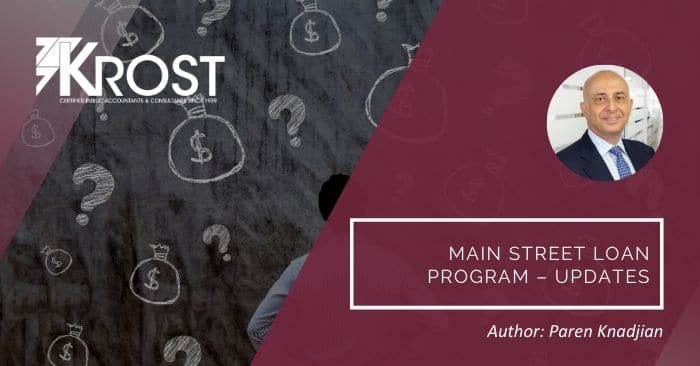 Main Street Loan Program – Updates