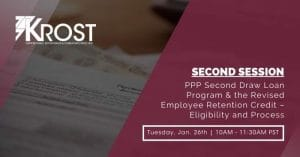 PPP Second Draw Loan Program & the Revised Employee Retention Credit – Eligibility and Process Webinar   Blog