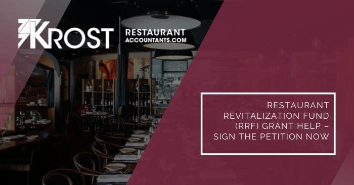 Restaurant Revitalization Fund (RRF) Grant Help – Sign the Petition Now