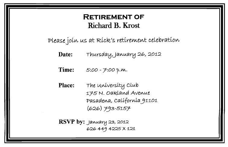 Rick Krost Retires
