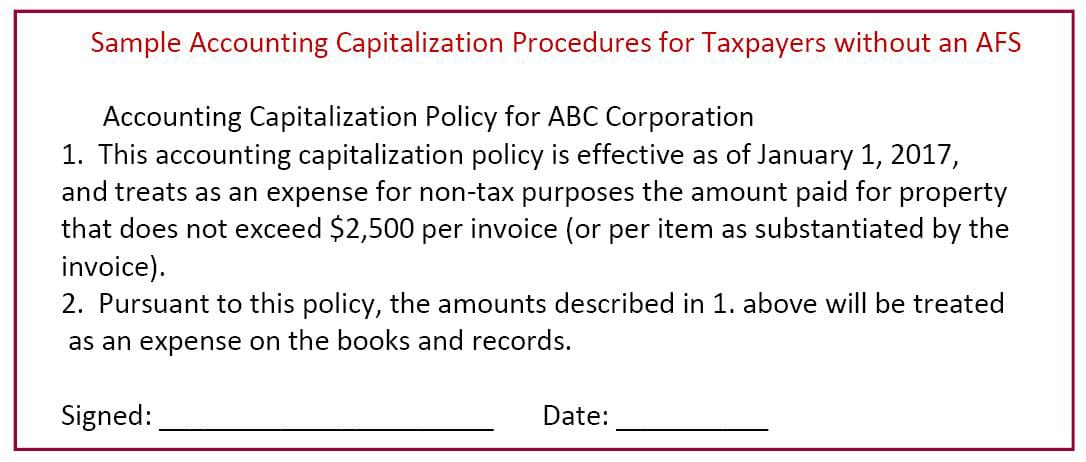 Sample Accounting Capitalization Procedures for Taxpayers without an AFS