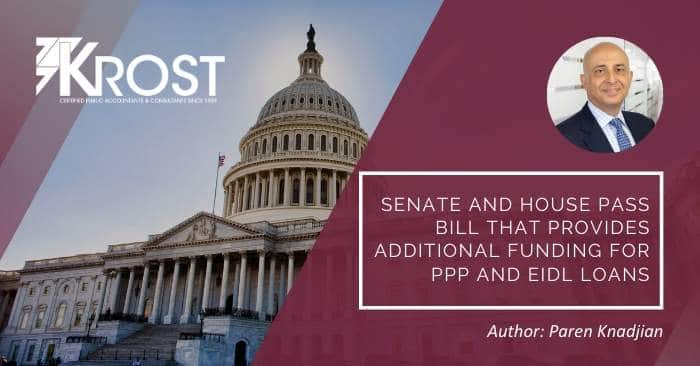 [Updated] Senate and House Pass Bill That Provides Additional Funding for PPP and EIDL Loans