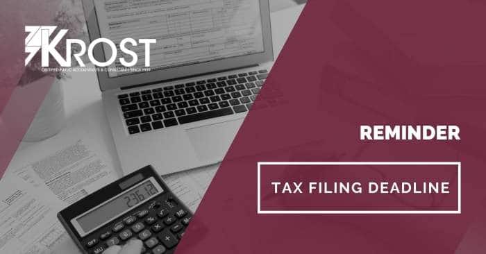 Reminder: Tax Filing Deadline