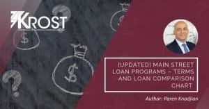 [Updated] Main Street Loan Programs – Terms and Loan Comparison Chart