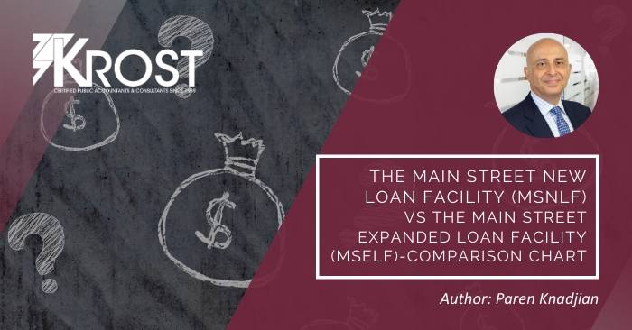 The Main Street New Loan Facility (MSNLF) vs the Main Street Expanded Loan Facility (MSELF) – Comparison Chart