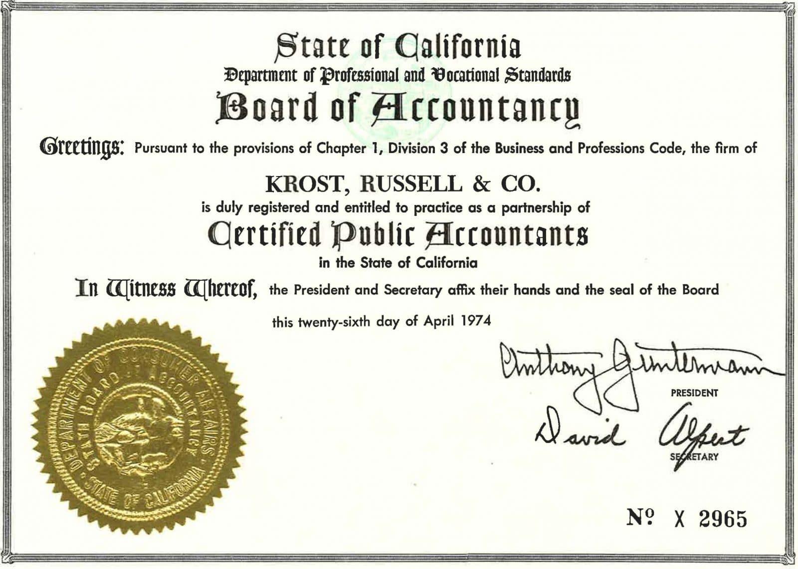 cpa certificate 1974